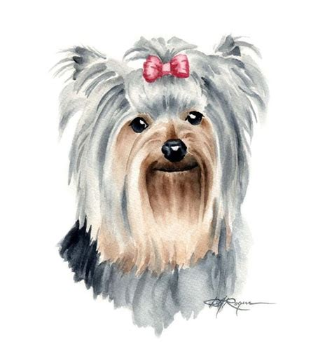 watercolor tattoo yorkshire terrier watercolor painting print signed by