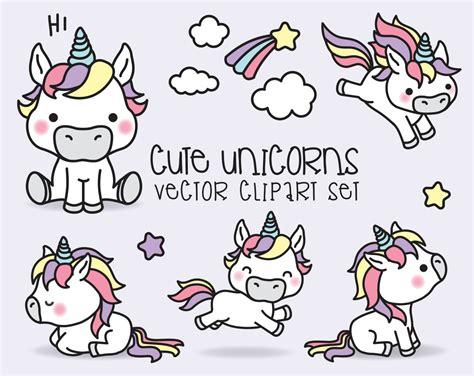 premium vector clipart kawaii unicorns cute unicorns