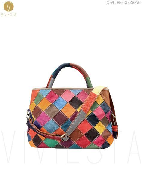 Patchwork Handbag - real genuine leather checkered patchwork shoulder bag