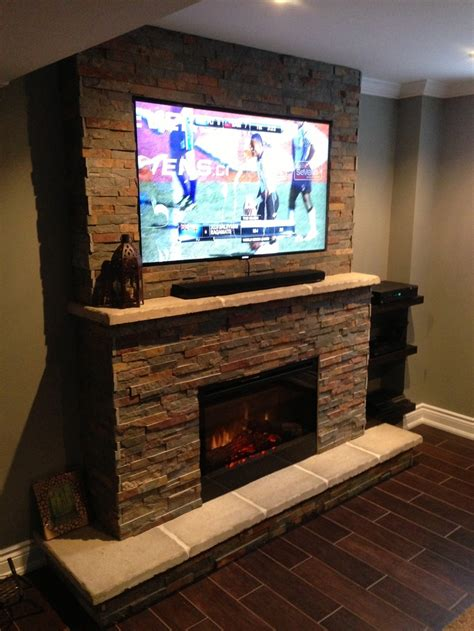 fireplace basement television samsung mantle hearth