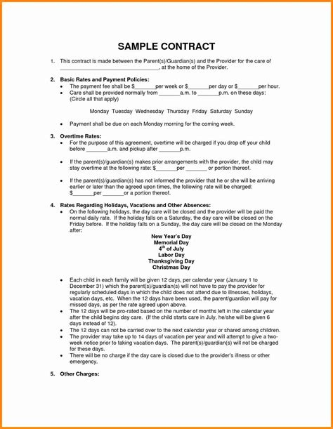 child care contract template 5 child care contracts templates driver resume