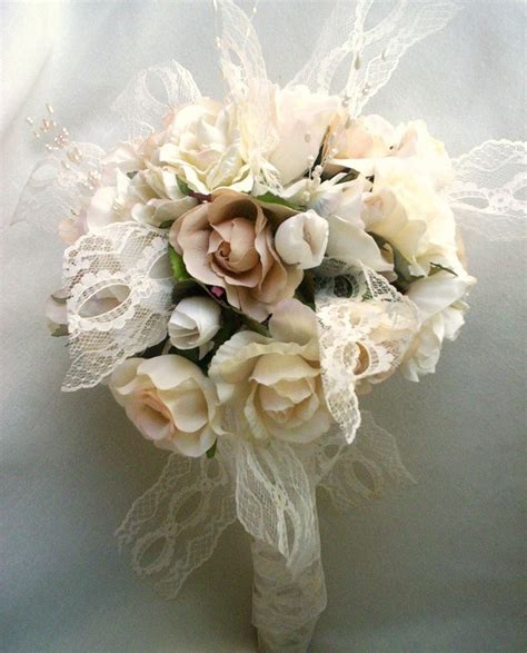 vintage bouquet shabby chic wedding ivory lace pearls