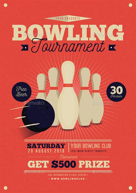 bowling flyers templates free vintage bowling tournament flyer by guuver graphicriver