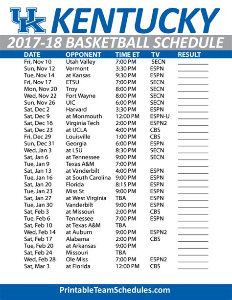 uk basketball schedule television printable kentucky basketball schedule 2017 18