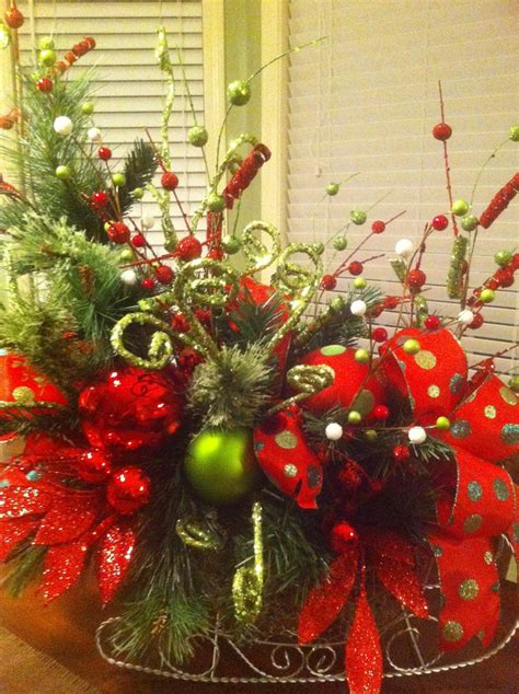 beautifully decorated christmas sleigh decor with fresh