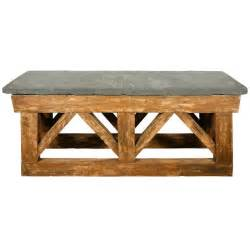 large wooden console table with a thick slate top at 1stdibs