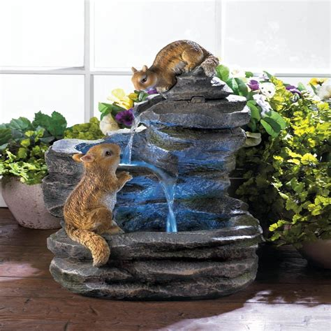 charming chipmunks outdoor electric water fountain garden