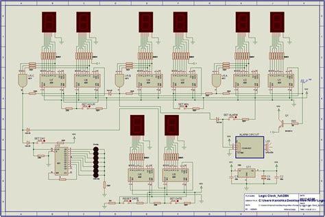 hr digital clock  alarm circuit  logic ics