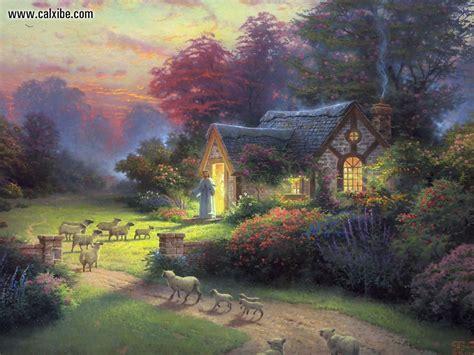 kinkade cottage painting drawing painting kinkade the sheperds cottage