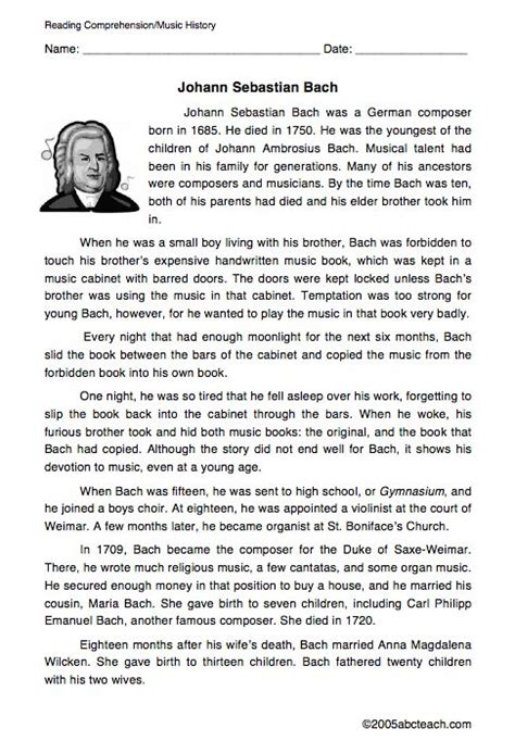 printable music lesson plans great composers johann sebastian bach biography worksheet music class
