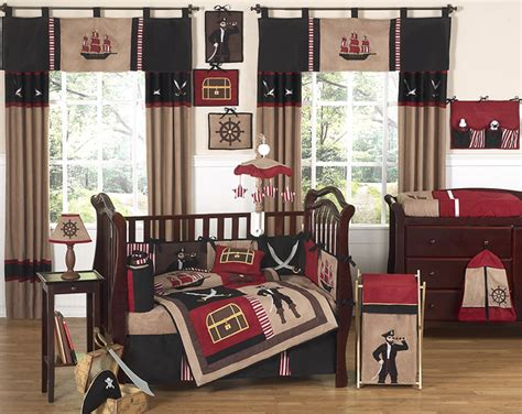 pirate baby bedding discount red black pirate ship nautical 9pc baby boy crib