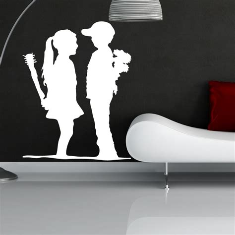 banksy wall stickers banksy boy meets wall sticker