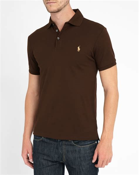 Polo Shirt Cokelat 1 polo ralph chocolate stretch polo shirt in brown for chocolate lyst