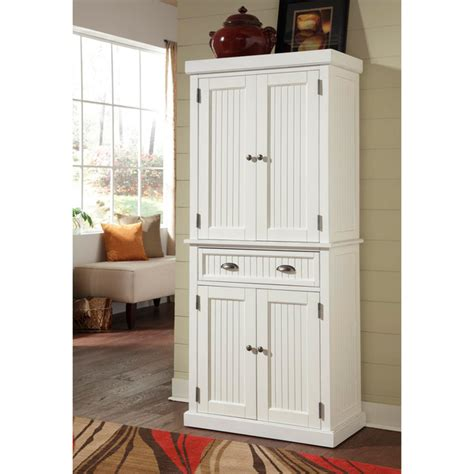Kitchen Cupboard Furniture Kitchen Cabinet White Distressed Finish Pantry Home