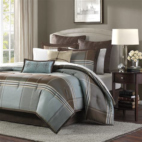 8 pc comforter set beautiful rich elegant brown blue grey comforter set 8