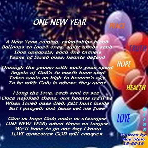 one new year holiday poems