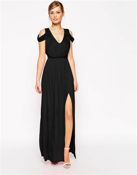 lyst asos cold shoulder wrap maxi dress in black