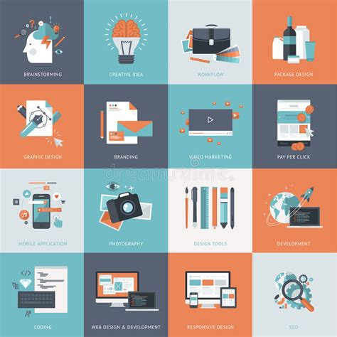 mobile web marketing set of flat design concept icons for website and app