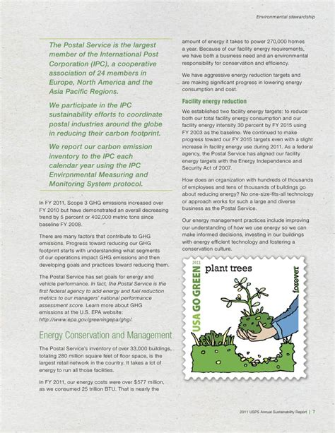 Annual Sustainability Report by U S Postal Service Annual Sustainability Report 2011 Quot Sustainabi