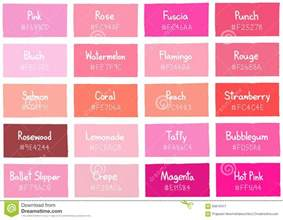 Shades Of Pink by Pink Tone Color Shade Background With Code And Name Stock
