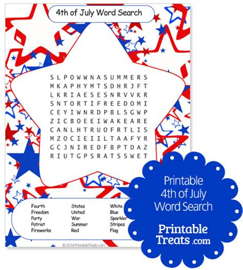 printable word search fourth of july printable 4th of july word search printable treats com