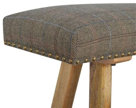 Wood Bench With Upholstered Seat Mango Wood Bench With Tweed Upholstered Seat