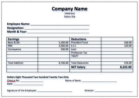 payslip spreadsheet