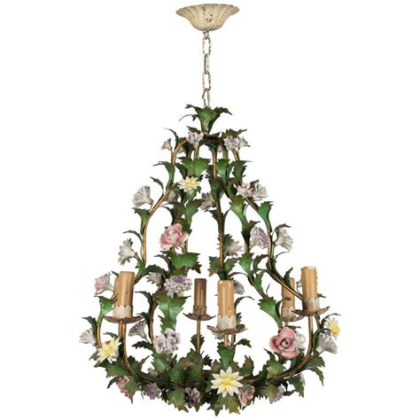 Chandelier With Flowers Italian Tole Chandelier With Porcelain Flowers For Sale At 1stdibs