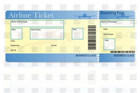 airline ticket template royalty free vector clip art image