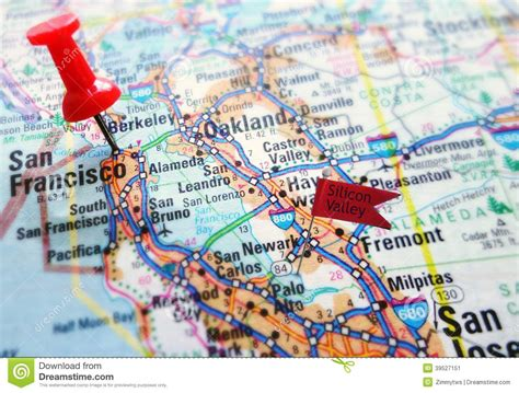 silicon valley usa map silicon valley stock photo image 39527151