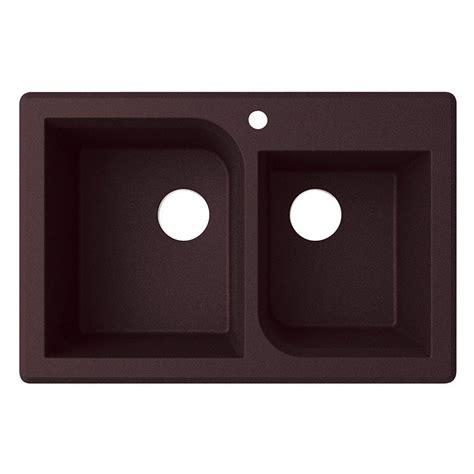 60 40 drop in kitchen sinks swan drop in granite 33 in 1 hole 60 40 double basin