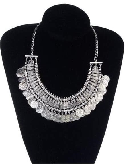 Coin Chain Anting India Fashion Import best jewelry vintage boho coin chuncky tassel necklaces