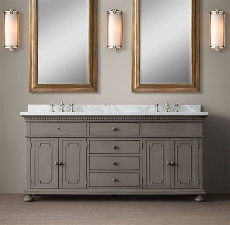restoration hardware bath vanity cabinets st james double vanity sink in antique graphite 72 quot w