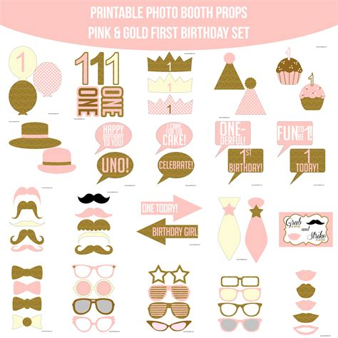 printable sofia the first photo booth props instant download first birthday pink gold glitter