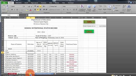 template of nutritional status nutritional status