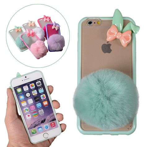 Iphone 6 6s Girly Korean Pink Soft Casing Cover Sarung Kesing s fashion rabbit fur conyhair clear cover
