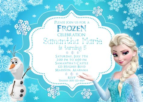 frozen invitation with elsa and olaf http www thewhiteeg