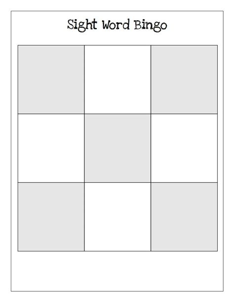 templates for sight words sight word bingo blank templates wordplay workshop