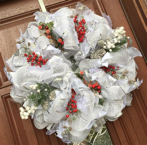 deco mesh christmas wreath white silver by whatsonyourdoor