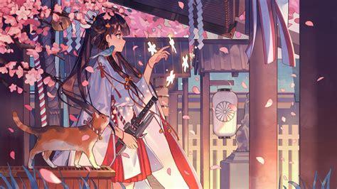 anime girl kimono wallpaper hd download 2200x1237 anime girl kimono katana sakura