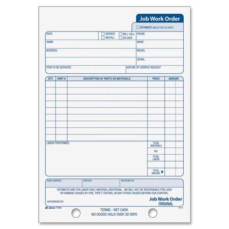 Adams Business Forms Job Work Order Book 3 Part 33 Sets Black 5 9 16 X8 7 16 Walmart Com Cell Phone Repair Work Order Template