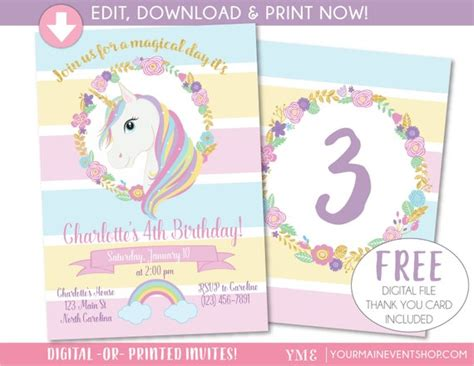 Unicorn Invitation Unicorn Party Invite Magical Rainbow Unicorn Invitations Free Template