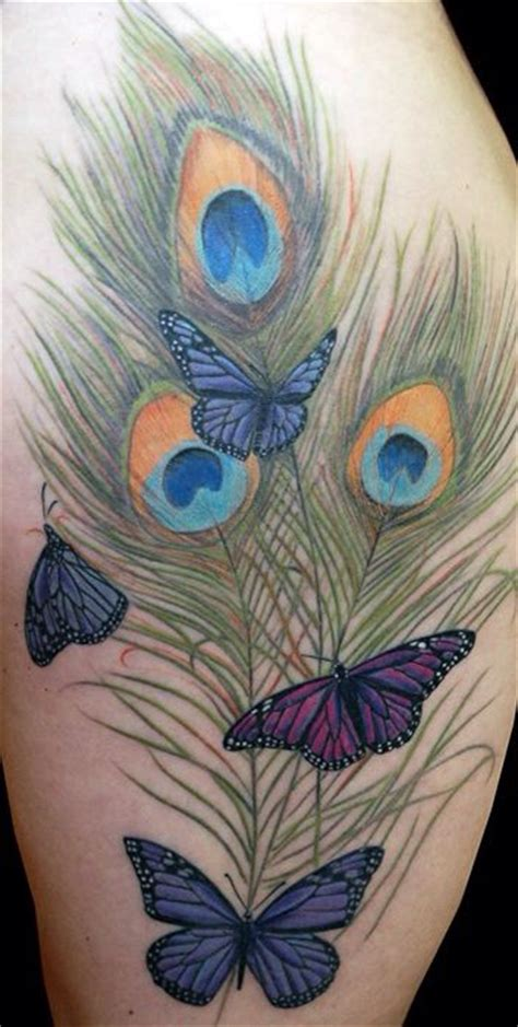 featherwood tattoos feathers and butterfly