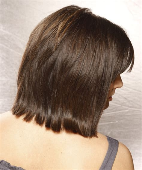 front and back views of chopped hair medium length layered bob hairstyles back view