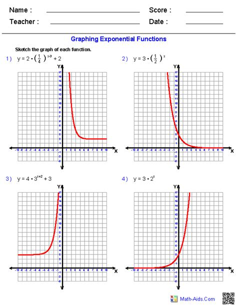 Graphing Exponential Functions Worksheet algebra 2 worksheets exponential and logarithmic