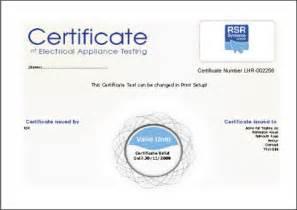 pat testing certificate template printing a certificate
