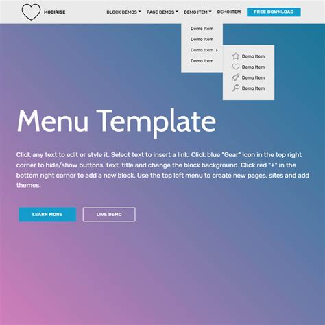 menu templates in html free html bootstrap menu template