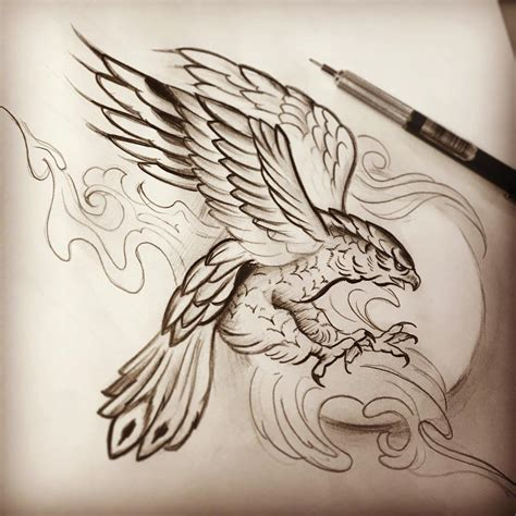 sessionstattooclub japanese style falcon study by zarate