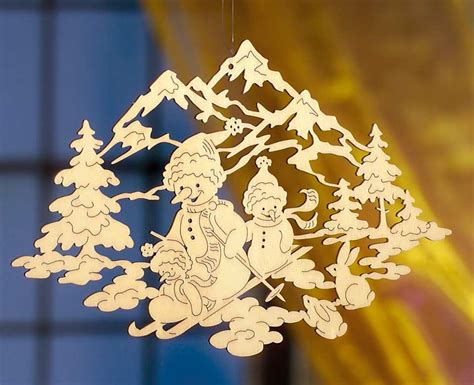 fenster deko holz weihnachten deko fensterbild schneem 228 nner handgefertigt aus sperrholz