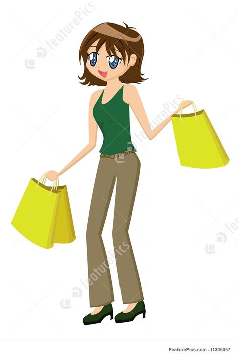 lade in cartone illustration of with bags